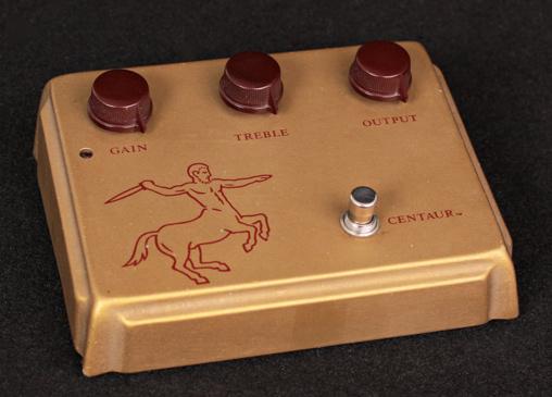 The Klon Centaur pedal has distinctive color scheme and branding