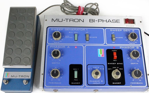 funky branding of the Mu-Tron Bi-Phase pedal