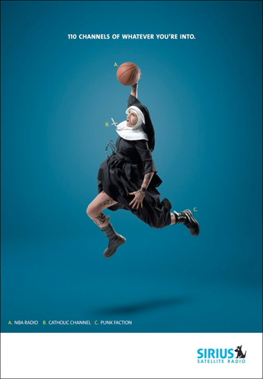 Ad for music brand Sirius makes a bold statement with a dunking nun