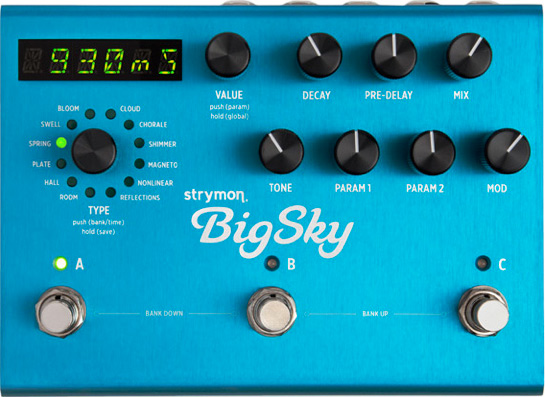 sleek appearance of the Strymon Big Sky brand