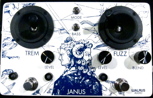 the Walfus Audio Janus pedal with joysticks and branded illustration