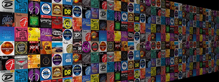 Wall of guitar string packaging for various brands looks like commodity