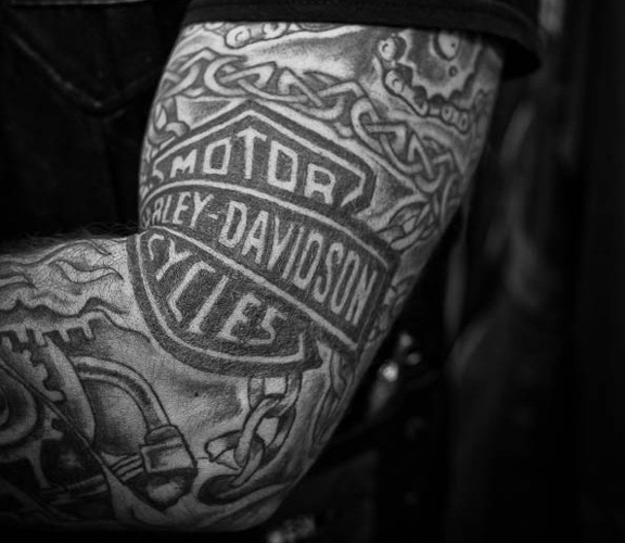 Harley-Davidson tattoo on arm of brand enthusiast