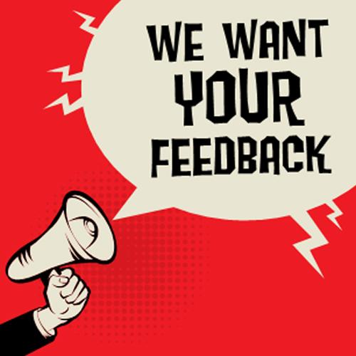 we want your feedback bullhorn illustration