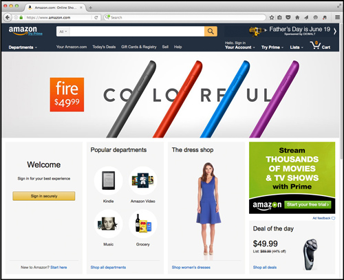 Screenshot of amazon.com interface showing focus on conversion