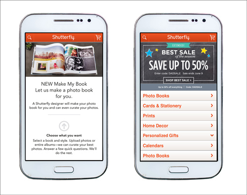 screenshots of Shutterfly's mobile-friendly interface