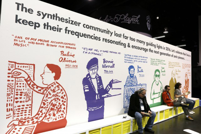 Moog booth back wall at NAMM 2017