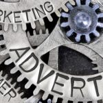 gear wheels named marketing, advertising, creativity, customer, sales and plan all working together