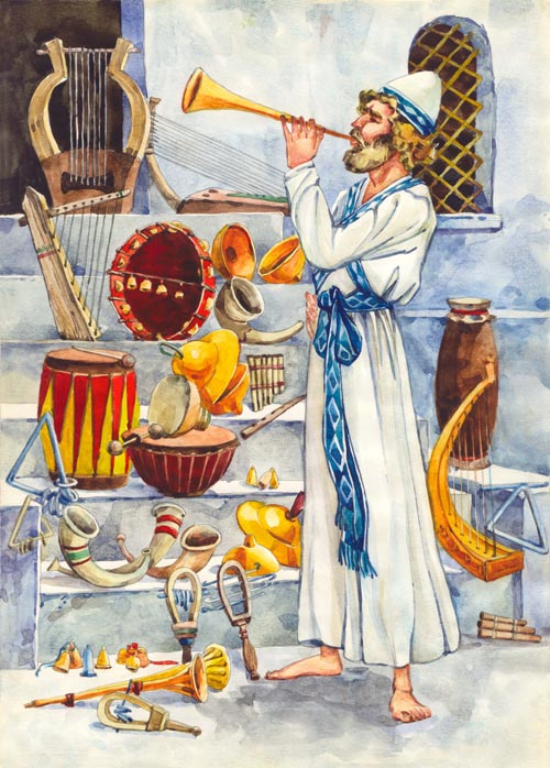 Ancient musician blowing a horn, surrounded by various musical instruments
