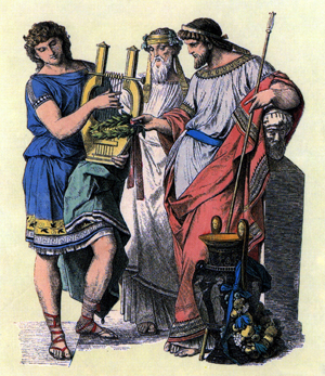 Ancient lyre player receiving a laurel wreath from two high-status men