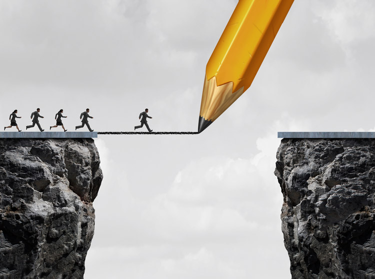 a large pencil comes down from the sky to draw a line that acts as a bridge for a group of sales reps running across a gap