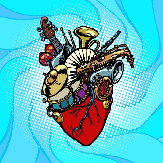 colorful illustration of a human heart with various musical instruments emerging from the top