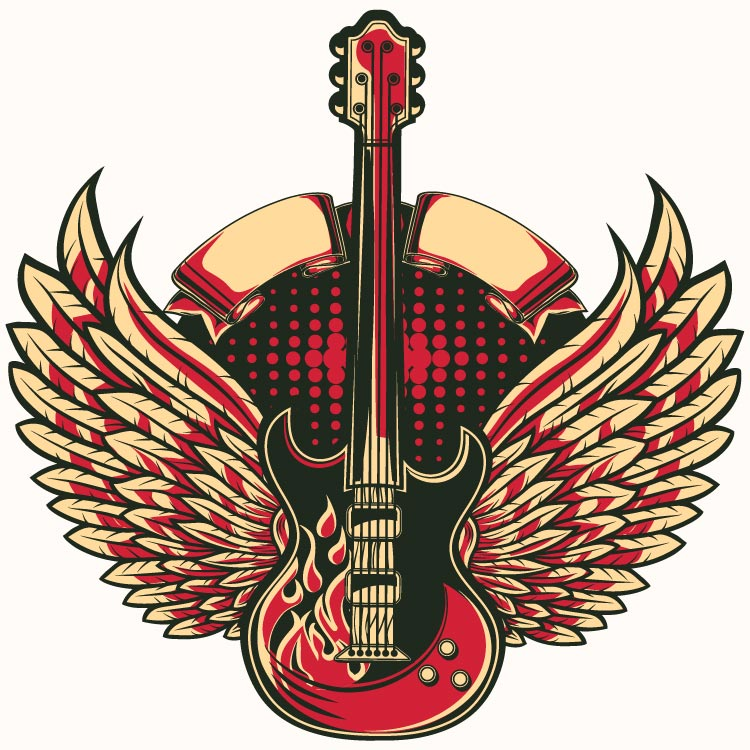 illustration of electric guitar with wings in a decorative background