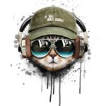 illustration of cool cat in headphones wearing cap
