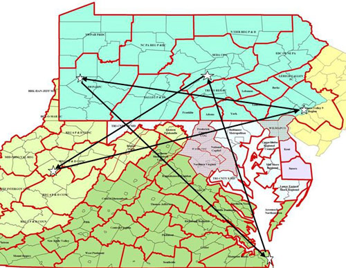 map of mid-Atlantic states showing inefficient travel path for a sales rep visiting 5 cities