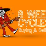 strolling skeleton with guitar next to headline: 8 week cycles buying & selling