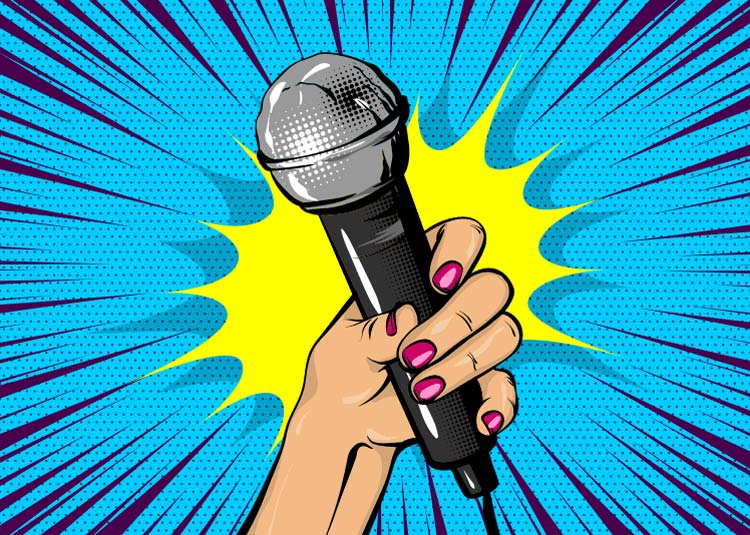 microphone held in upraised hand