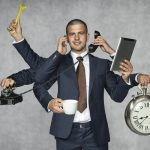 sales rep with many arms handling phones, computer, clock and coffee