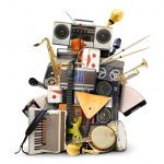 a varied group of musical instruments and electronics