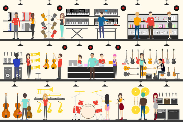 illustration of customers shopping for instruments in a music store
