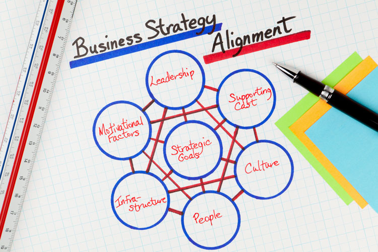 chart showing business strategy alignments including Leadership, Supporting Cast, Culture, People, Infrastructure, and Motivational Factors connecting with Strategic Goals